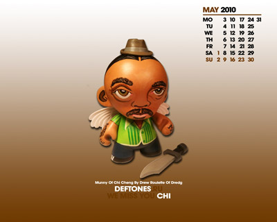 Wallpaper «Munny Of Chi Cheng By Drew Roulette Of Dredg» с календарем на май 2010 года