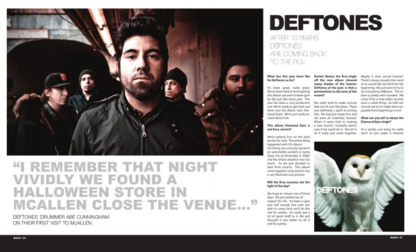 After 10 years Deftones are coming back to the RGV (журнал «MAGX» 04/2010)