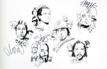 Эксклюзивная иллюстрация группы Deftones с автографами всех участников, выставленная на аукцион для сбора средств на лечение Чи Ченга