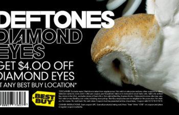 С помощью этого купона можно получить скидку $4 при покупке альбома «Diamond Eyes» группы Deftones, если вы, конечно, живете в США