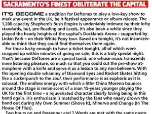 Обзор концерта Deftones в лондонском Shepherd's Buch Empire от журнала «Kerrang!»
