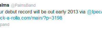 Группа Palms сообщает в Твиттере, что их дебютный альбом выйдет в начале 2013 года