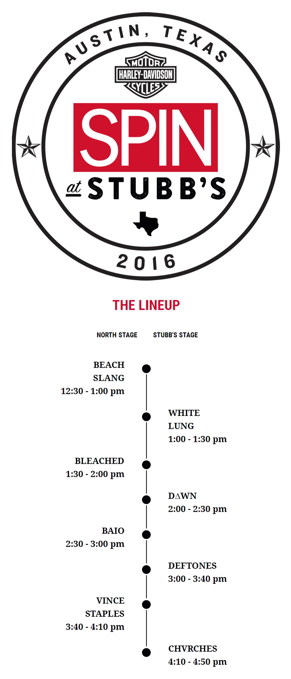 Расписание выступлений на SPIN at Stubb's showcase