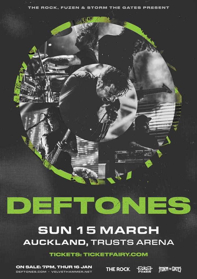 15 марта Deftones выступят в Новой Зеландии, в Окленде
