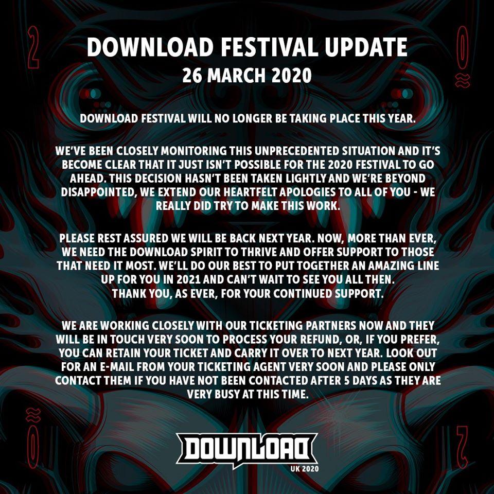 Фестиваль «Download» в Великобритании отменен на фоне проблем с коронавирусом, о чем сообщили его устроители