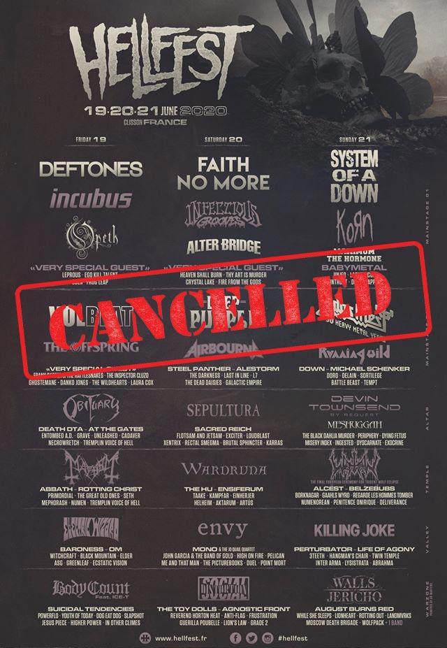 Фестиваль «Hellfest Open Air» в 2020 году отменен
