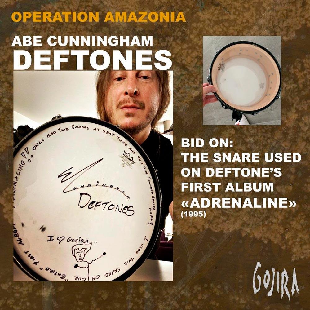 Группа Gojira выставила на благотворительный аукцион малый барабан Эйба Каннингема